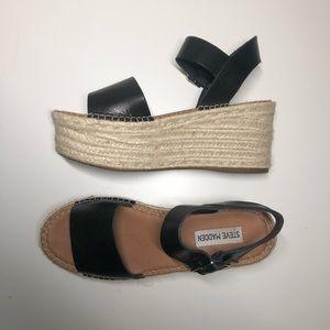 Steve Madden Black Leather Platform Sandals ✨